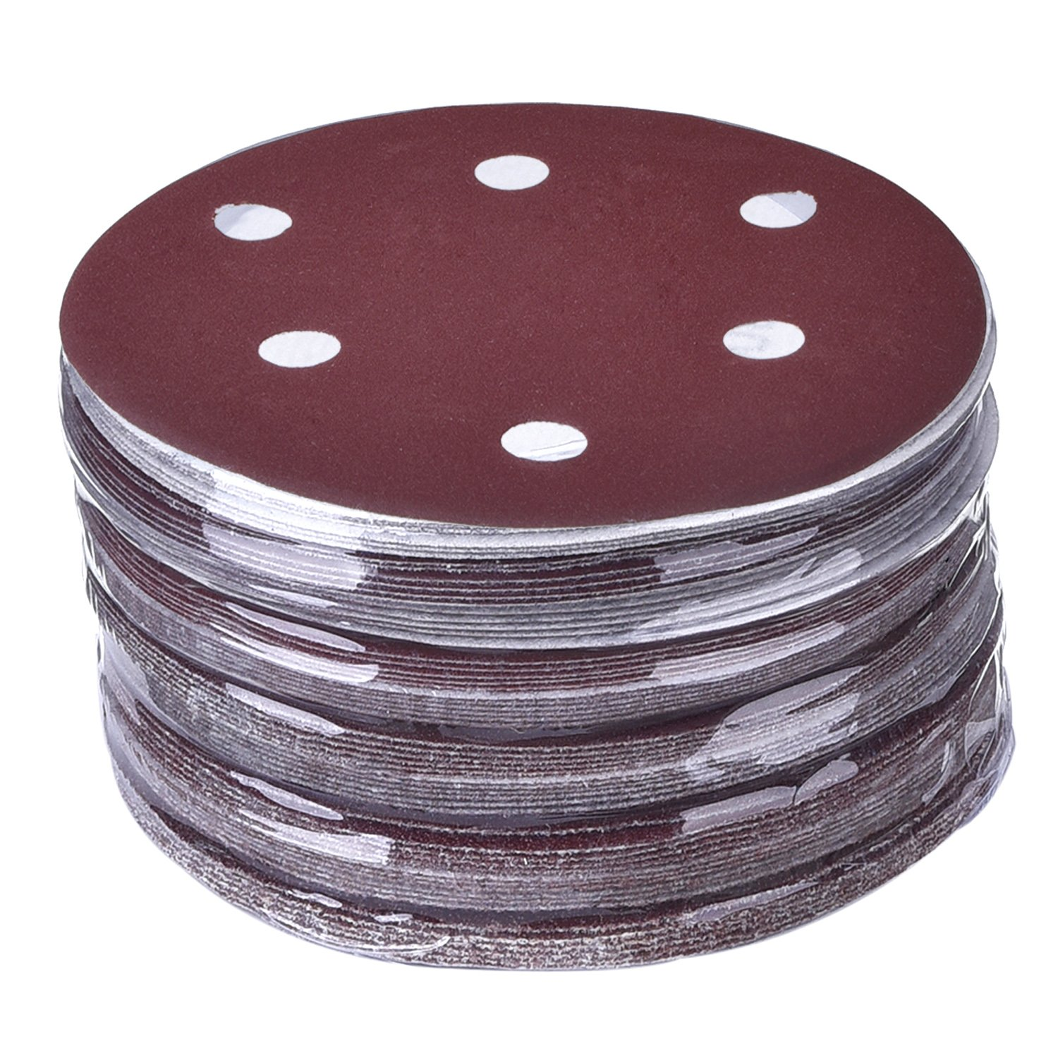 eBoot 60 Pieces 5 Inch Sanding Discs Sandpaper Hook and Loop Pads 40/ 60/ 80/ 100/ 120/ 180/ 240/ 320/ 400/ 800 Assorted Grits 6-Holes