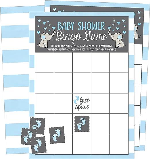 BABY BINGO Baby Shower Game CUTE ELEPHANTS 20 Sheets UK Version Boy Girl Neutral