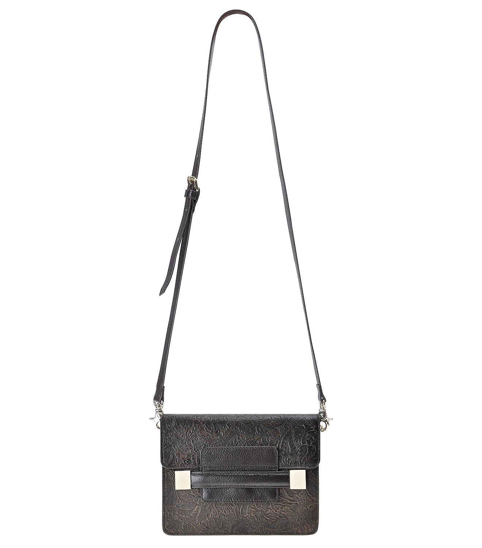 ZLYC Women's Handmade Leather Flower Emboss Lady Mini Shoulder Bag Cross Body Bag