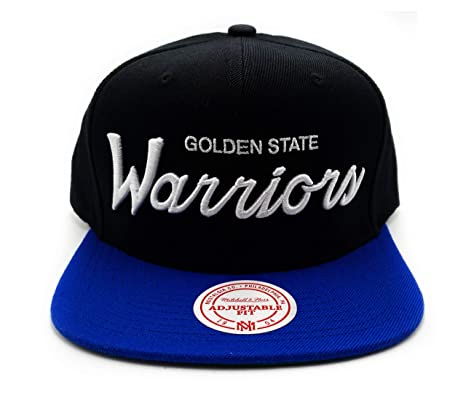 brand new 95cb9 d1642 Mitchell   Ness Golden State Warriors Classic Script Snapback Adjustable Hat  Black
