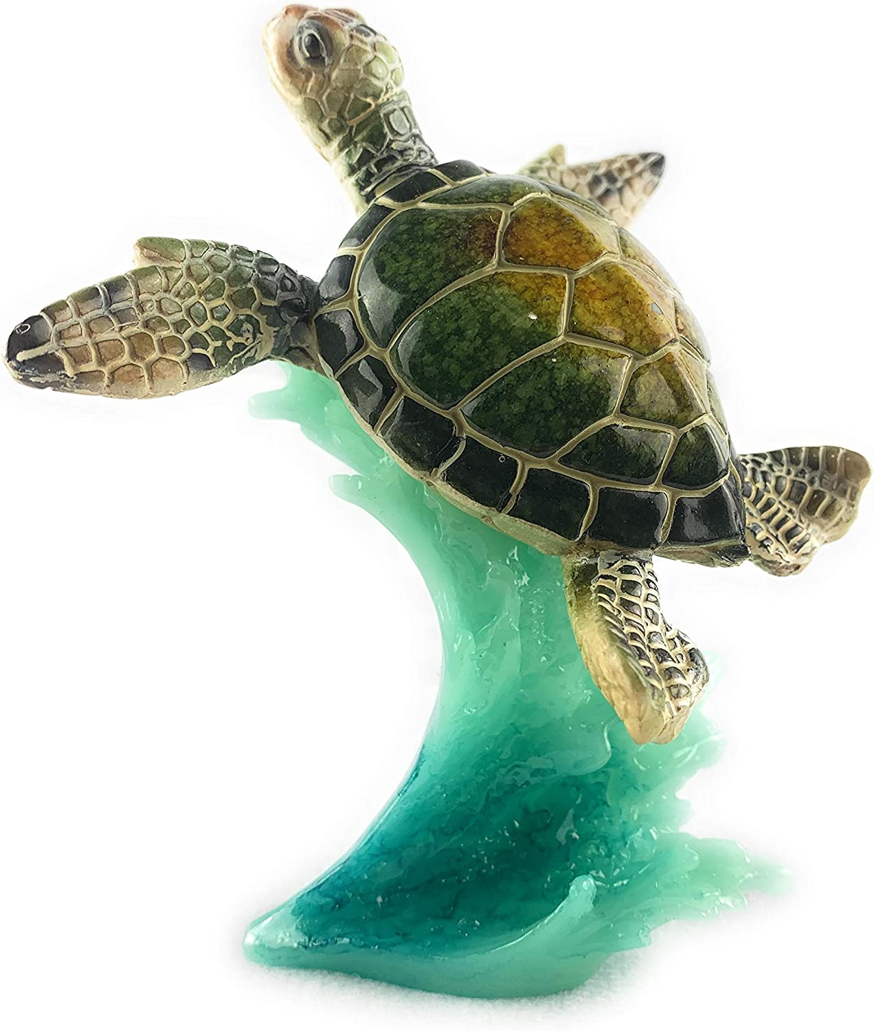 Aint It Nice Sea Turtle Green On Wave Marine Ocean Life Beach Themed Gift Decor Statue Figurine Collectible, 5 X 4.5 X 3 inches