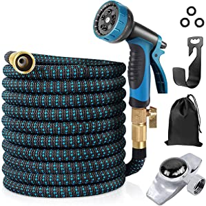 100 ft Water Hose with Sprinkler, ToteBox Flexible Expandable Garden Hose with 10 Function Spray Nozzle and 3 Layers Latex and 3/4