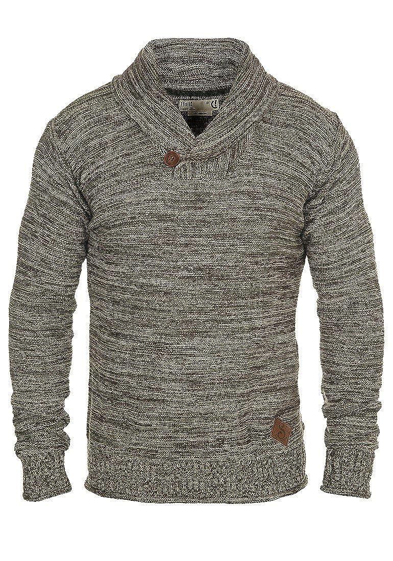 !Solid Herren Miles Shawl Pullover Strickpullover Feinstrick mit Schalkragen aus 100% Baumwolle Meliert