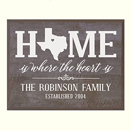 01de3c1d241 LifeSong Milestones Personalized Texas State Home is Where The Heart is  Wall Plaque with Family Last