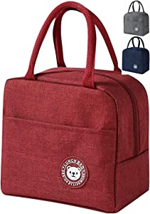 Lunch Bag Insulated Lunch Box Wide-Open Lunch Tote Bag Large Drinks Holder Durable Nylon Thermal Snacks Organizer for Women Men Adults College Work Picnic Hiking Beach Fishing (red)