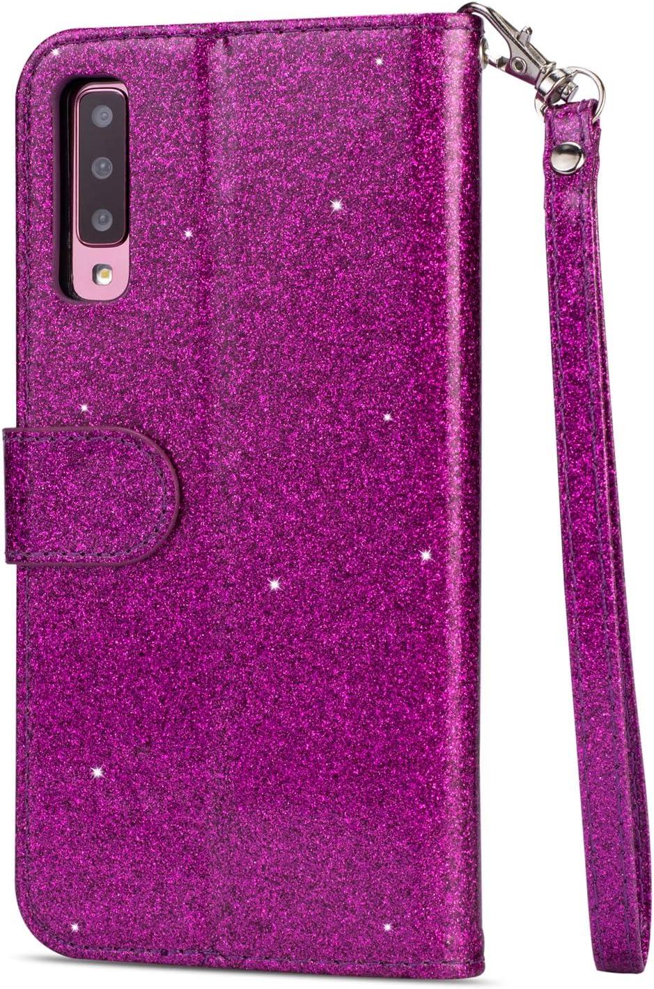 Rose Gold Strass Corde PU Cuir Diamant Stand Porte-Monnaie Coque avec Fentes Cartes de Cr/édit Moiky Briller Clapet Coque pour Galaxy A7 2018 A750,Zipp/ée Etui pour Galaxy A7 2018 A750
