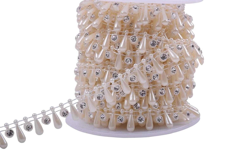 KAOYOO 10 Yards New Openwork Flowers with Rhinestone Chain Sew on Trims Wedding Dress Decoration Beaded Trim