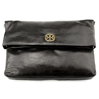 cb8cf7ec2f07 Amazon.com  Tory Burch Dena Messenger Cross-body Bag in Black Leather  Shoes
