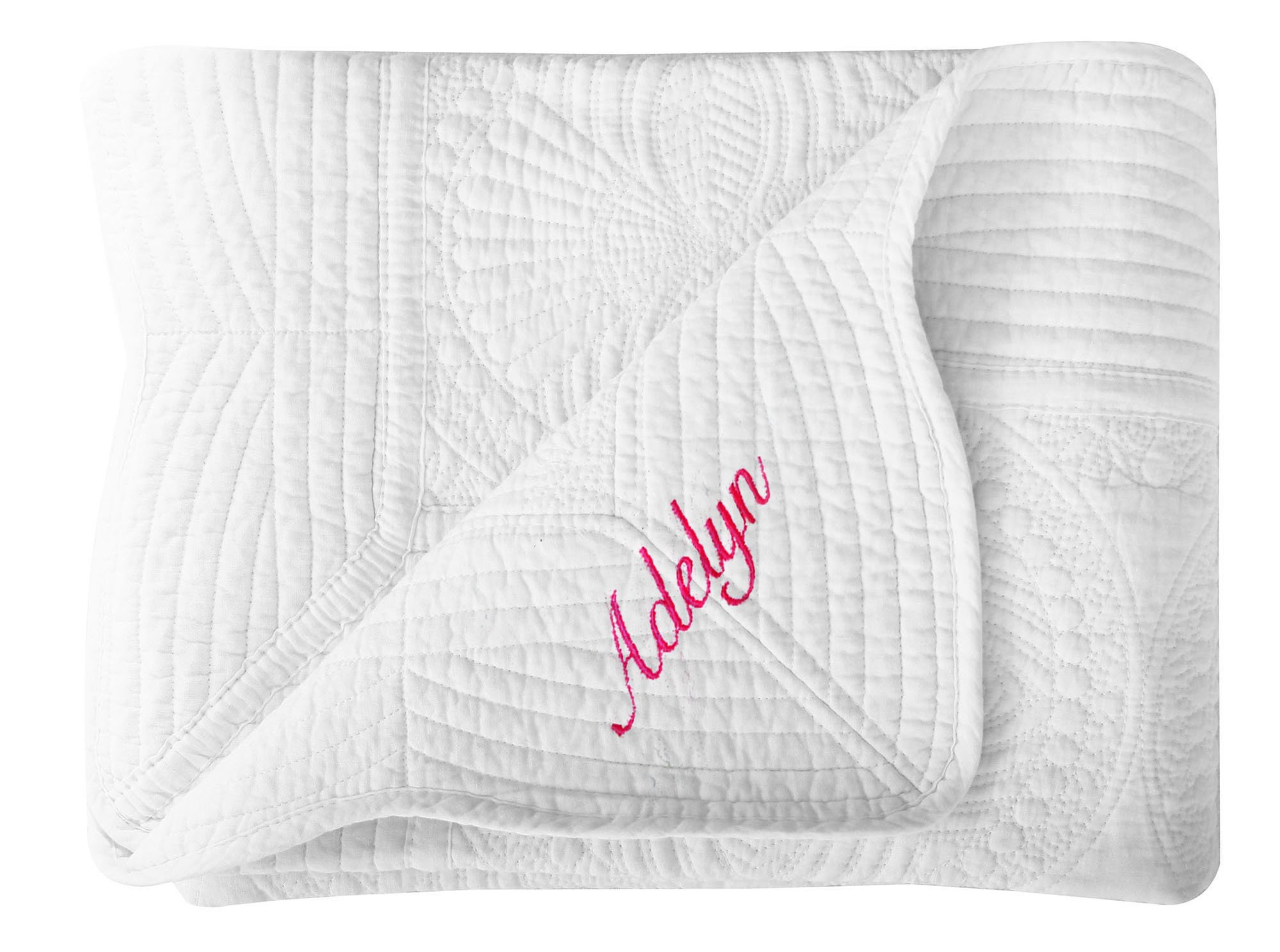 Personalized Embroidered Baby Blanket Lightweight Toddler Cotton Quilt