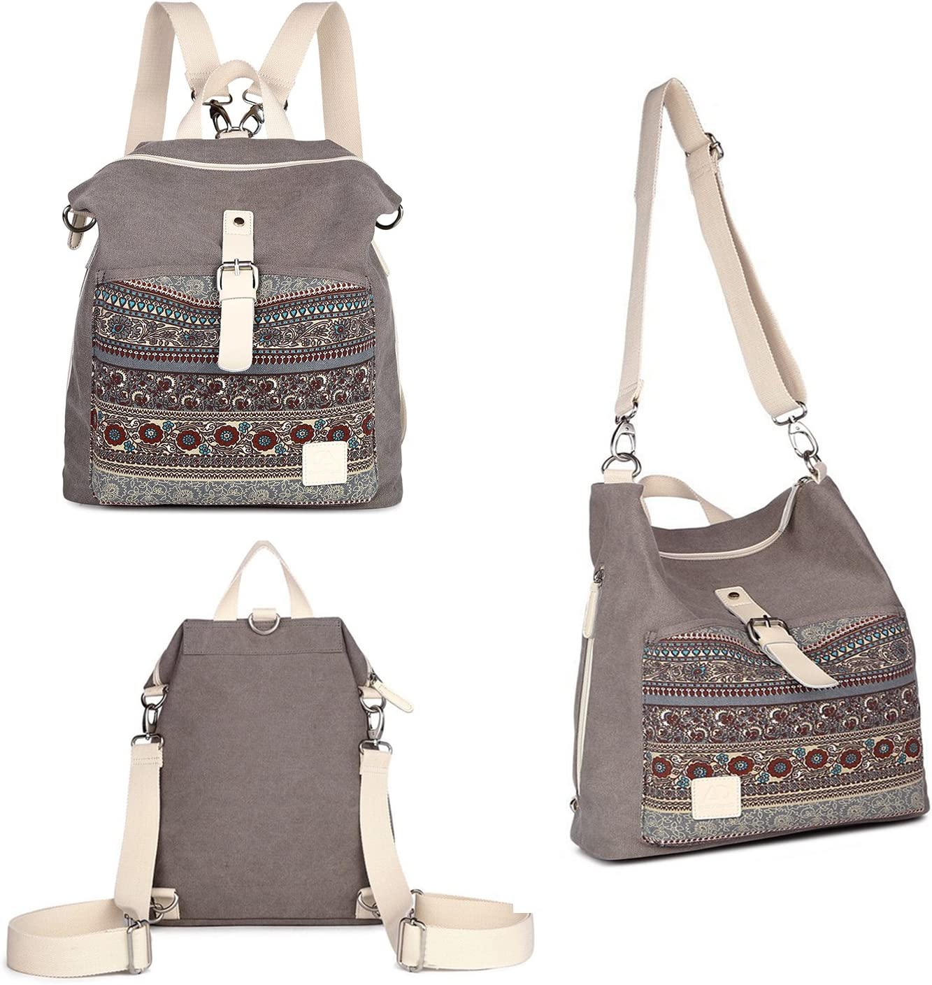 Womens Backpack Purse Canvas 3-Way Convertible Crossbody Bag