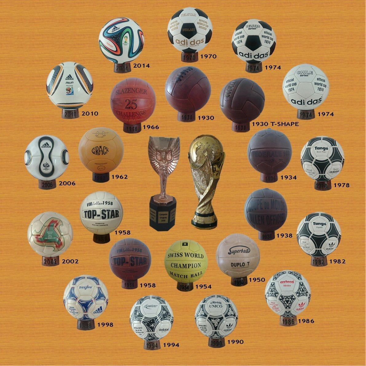 Colección de balones mundialistas desde 1930 - 2014 + trofeo Jules Rimet + trofeo FIFA + 23 soportes de madera sbc