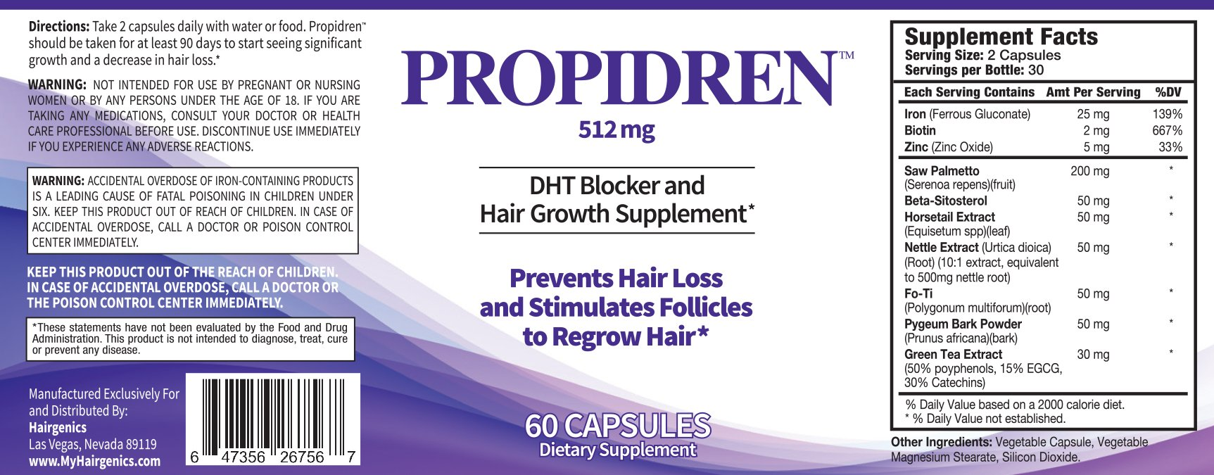Propidren by HairGenics - DHT Blocker & Hair Growth Supplement with Saw Palmetto & Biotin to Prevent Hair Loss and Stimulate Hair Follicles to Stop Hair Loss and Regrow Hair.