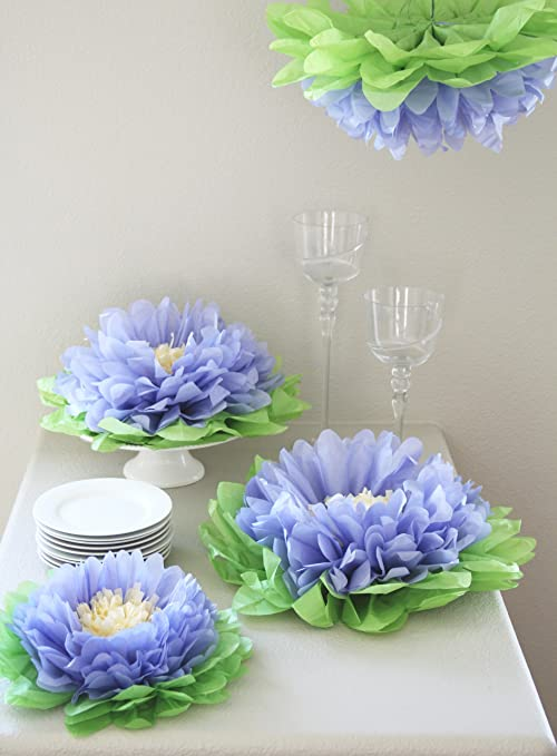 Buy Girls Party Decorations Set Of 7 Purple Tissue Paper Flowers