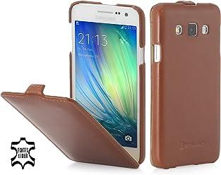 StilGut UltraSlim Case, Custodia in Pelle per Samsung Galaxy A3 (2015), Cognac
