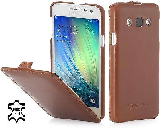 StilGut UltraSlim, Housse en Cuir pour Samsung Galaxy A3 (2015), en Cognac   Amazon.fr  High-tech d9164e1c5ab1
