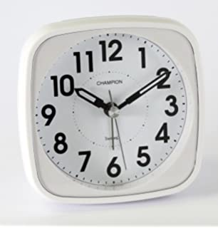 Classic Bold Traditional White Quartz Sweeping Non Ticking Alarm Clock. Small Travel Sweep Silent Movement Beep Alarm Clock With Snooze