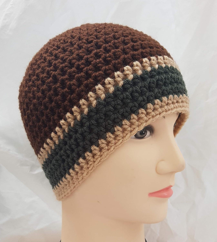 Amazoncom Mens Brown Hat Crochet Beanie Green And Tan Stripes