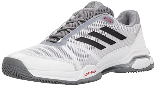 adidas Men's Barricade Club Tennis Shoe, White/Black/Grey, 9 M US