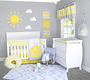 Pam Grace Creations Yellow and Gray Chevron 6 Piece Crib Bedding Set