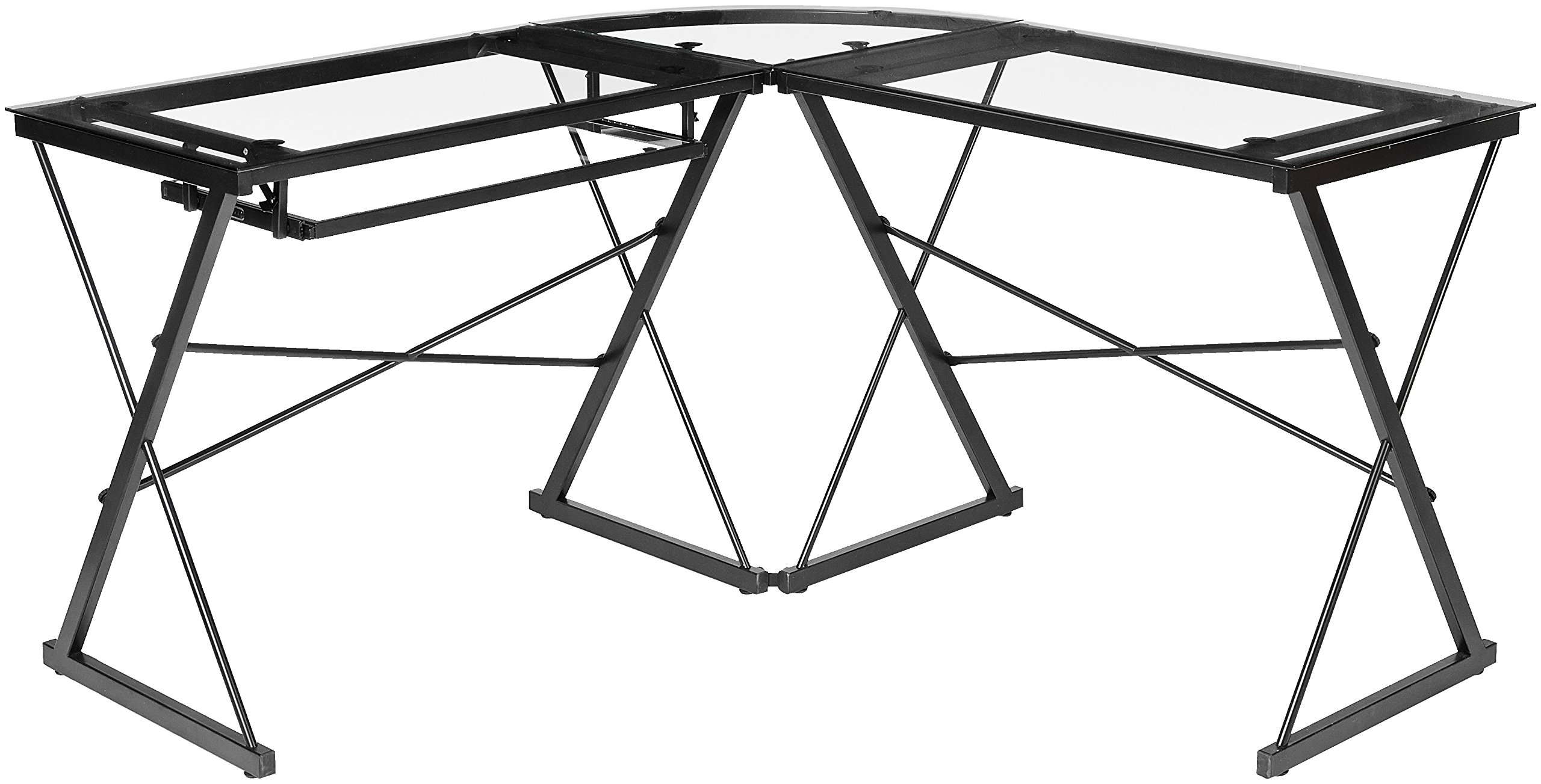 AmazonBasics Three-Piece Glass Desk - Black with Clear Glass - 3-piece modular desk with contemporary, minimalist style; can be separated into 2 desks Smooth work surface made of clear tempered safety glass (polished and beveled) Includes independent CPU stand and sliding keyboard tray that can be mounted on either side - writing-desks, living-room-furniture, living-room - 81BJ8ehufVL -