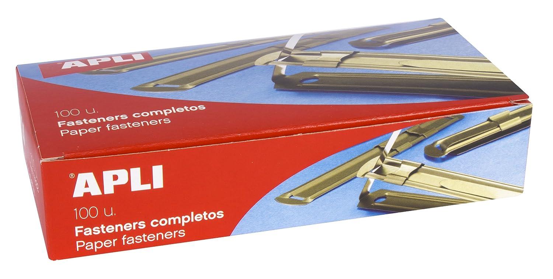APLI 11832 - Fásteners metálicos completos color dorado, 100 unidades: Amazon.es: Oficina y papelería