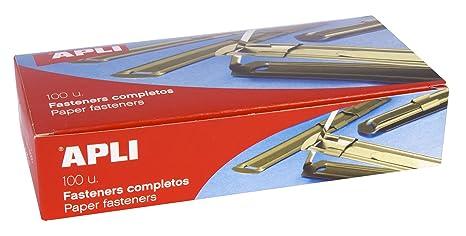APLI 11832 - Fásteners metálicos completos color dorado, 100 unidades