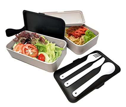 NERTHUS FIH 415 Lunch Box hermético Doble con Cubiertos, Blanco y Negro, Única