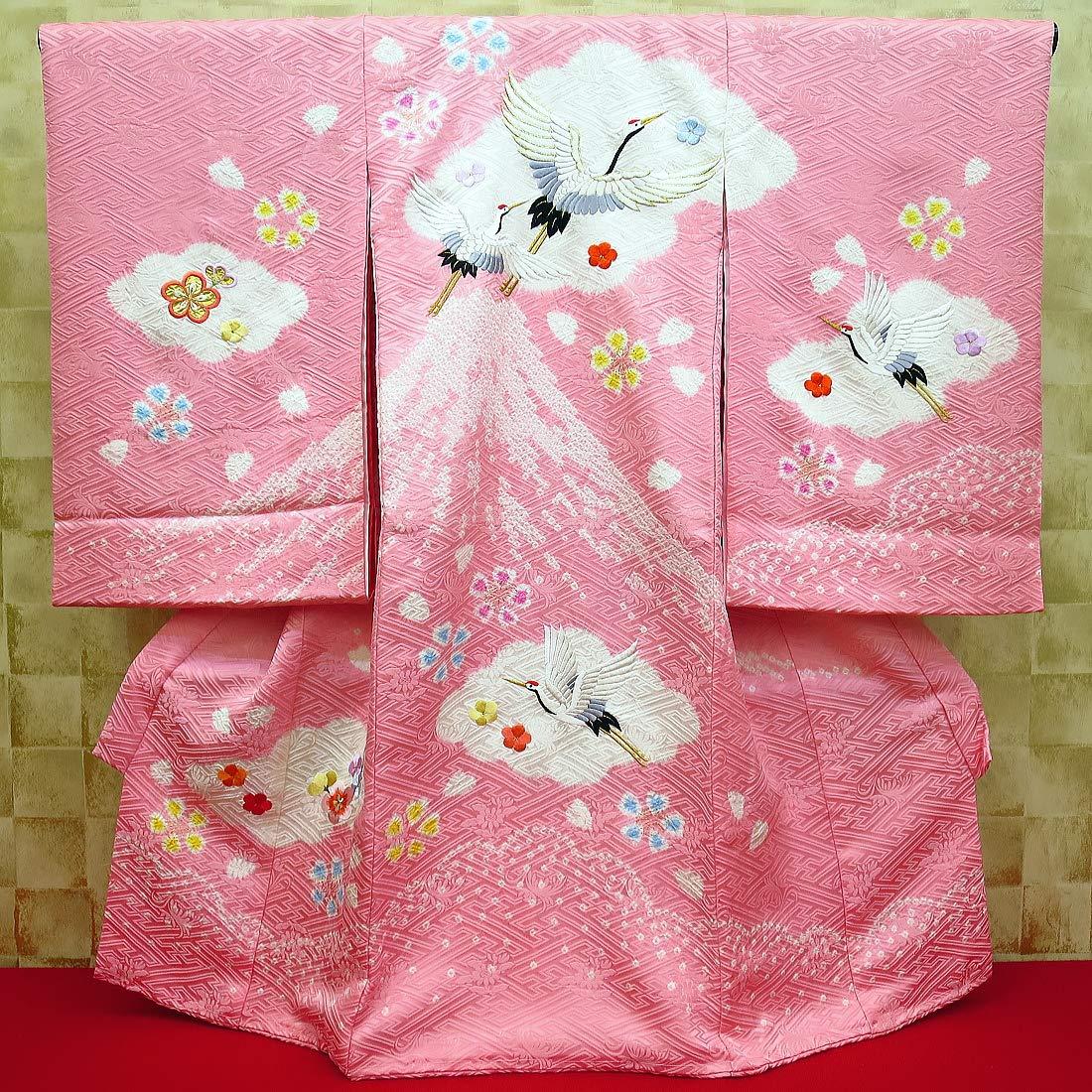 【鶴と富士ピンク】女児 初着 祝着 のしめ 産着 女の子のお宮参り着物 高級フードセットプレゼント付   B00BB6CX1G