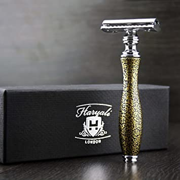 6b57f8ece2e Classic Vintage Style Men s Shaving De Safety Razor in Golden Antique  Handle(Blades Not Included). Perfect For Everyday Shave.