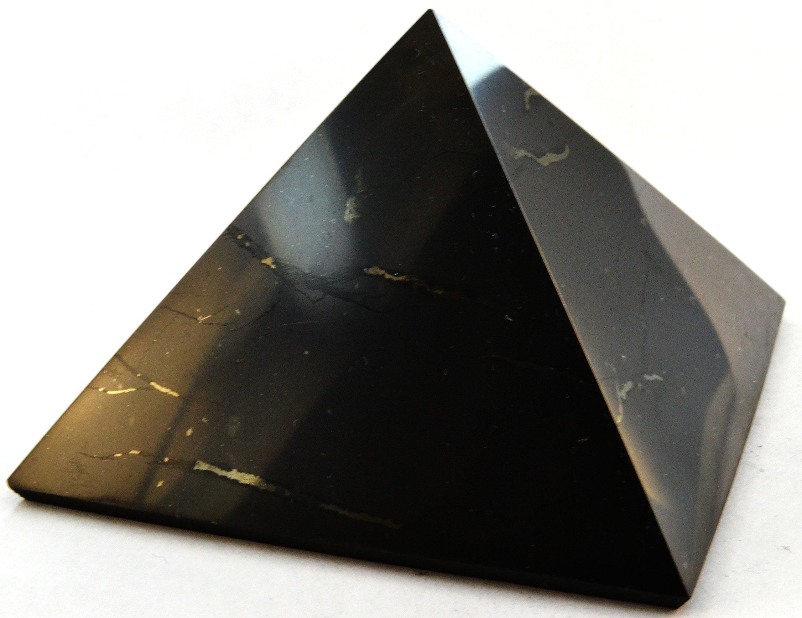 Keled Rocks Shungite Pyramid Polished Natural Shungites Stone 4''