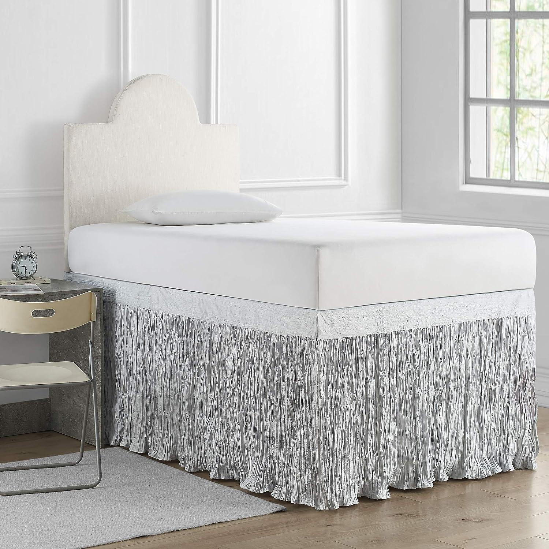 DormCo Crinkle Bed Skirt Twin XL (3 Panel Set) - Glacier Gray