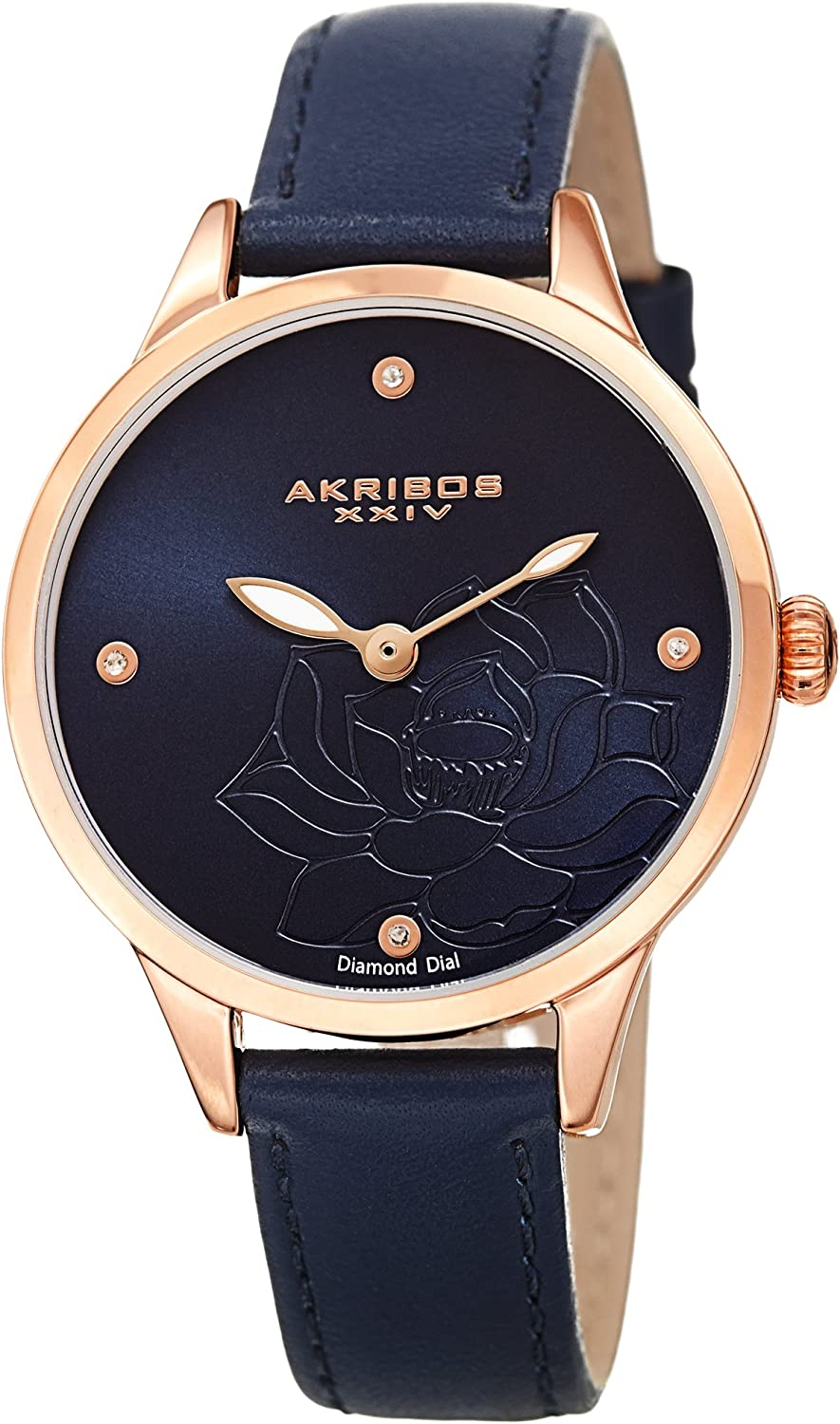 Akribos XXIV Flower Engraved Dial Watch – 4 Diamond Markers On a Leather Strap Women s Watch – Beautiful Gift Box Perfect for Mothers Day – AK1047
