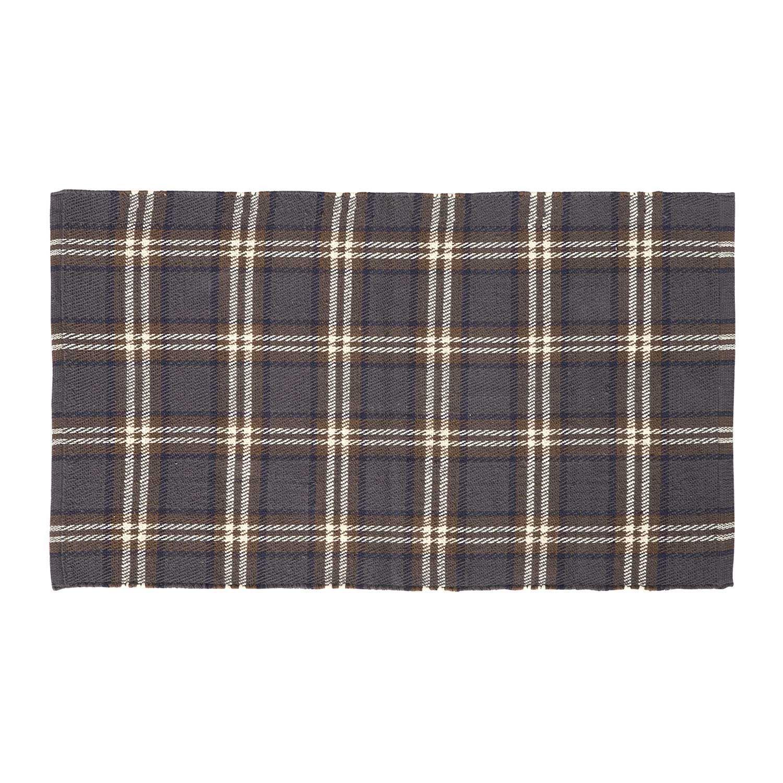 Homescapes Tartan Hallway Runner Handwoven Grey, Brown, White & Blue 100% Cotton Rug 'Hamilton' Check Hallway Rug, 66 x 200 cm