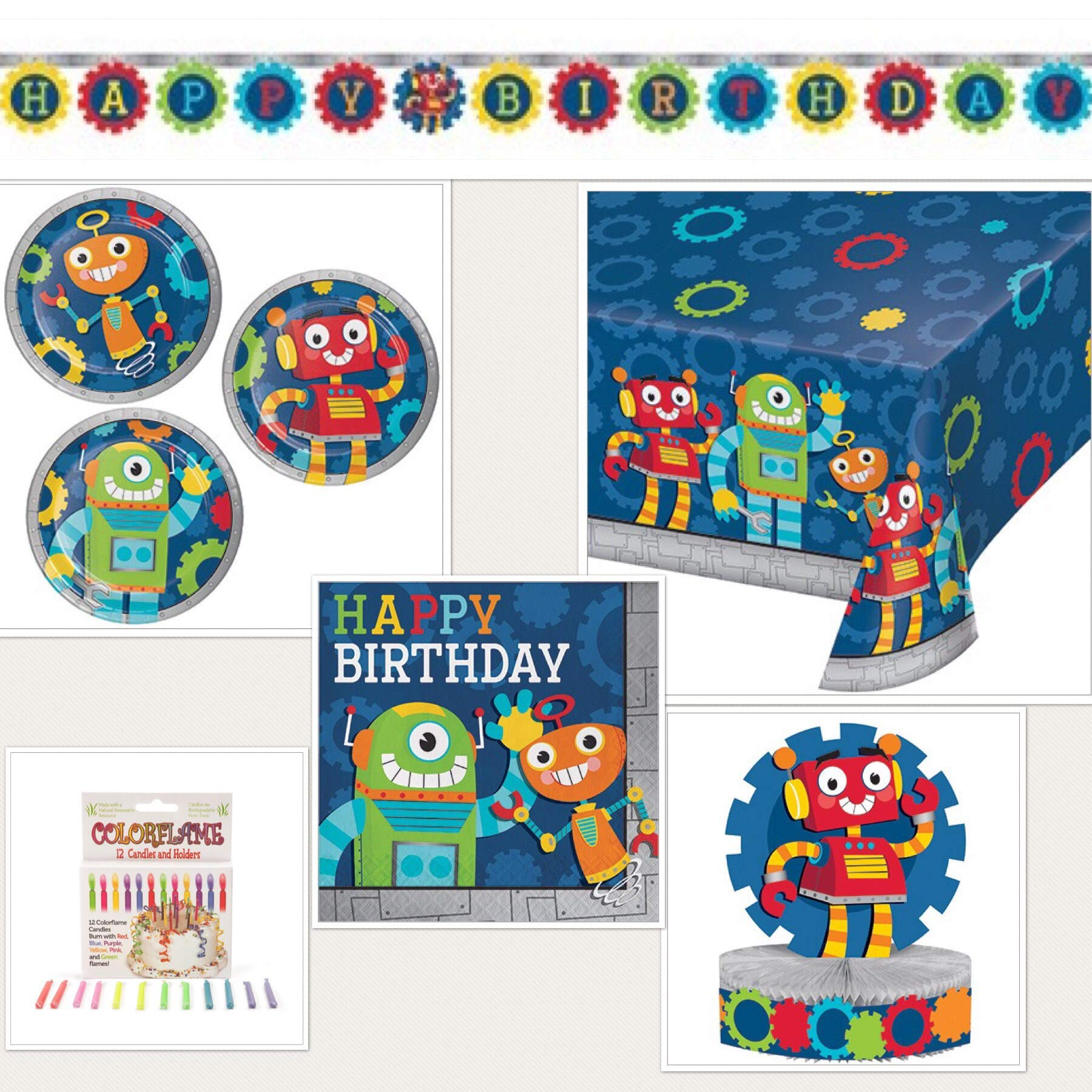 Olive Occasions Robot Happy Birthday Party Supplies 16 Beverage Napkins, 16 Cake Plates, Banner, Centerpiece, Tablecloth, 12 ColorFlame Candles and Grandma Olive's Multi-Generational Recipe