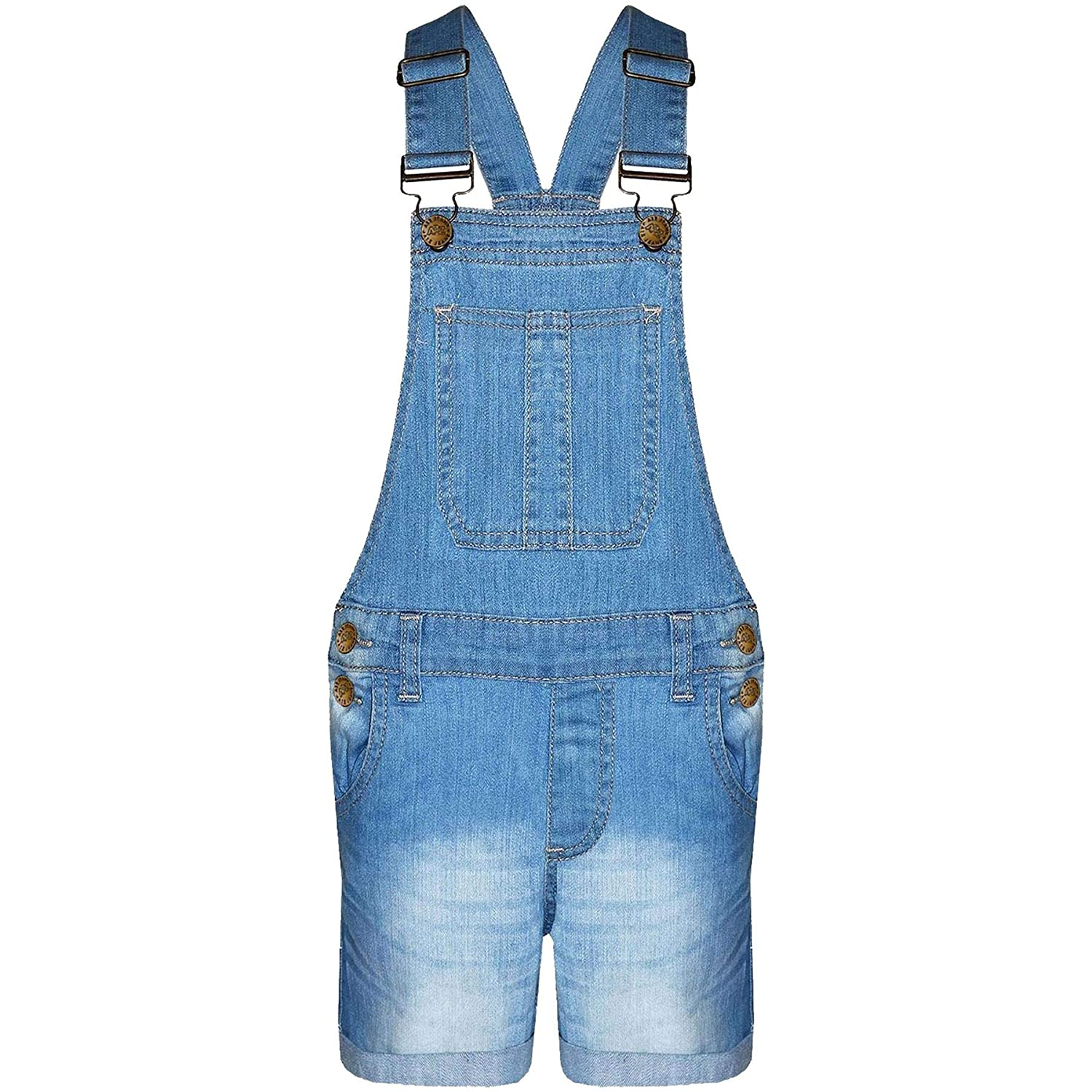 A2Z 4 Kids® Kids Girls Dungaree Shorts Denim Stretch Jeans Jumpsuit Playsuit All in One New Age 5 6 7 8 9 10 11 12 13 Years