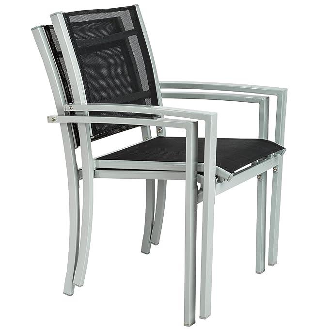 TecTake Juego de 2 Sillas de jardín sillón balcón terraza silla de exterior | varios modelos (gris | No. 402065)