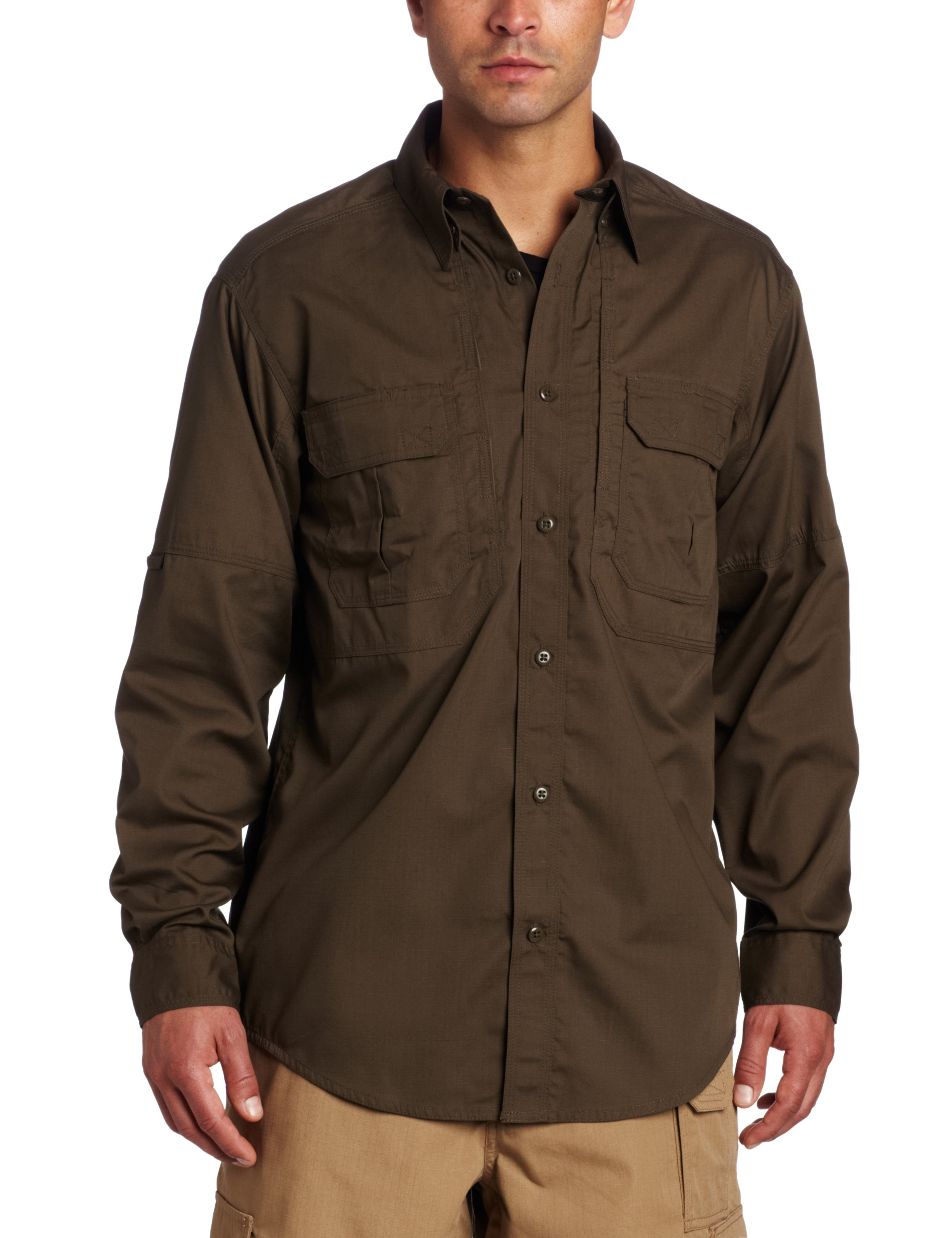 5.11 Tactical TacLite Professional Long Sleeve Shirt, Tundra, Large by 5.11 (Image #1)