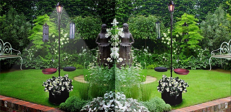Nouvelle lampe solaire style victorien Bird station d'alimentation Mangeoire Plateau Pot de fleurs EliteZotec®