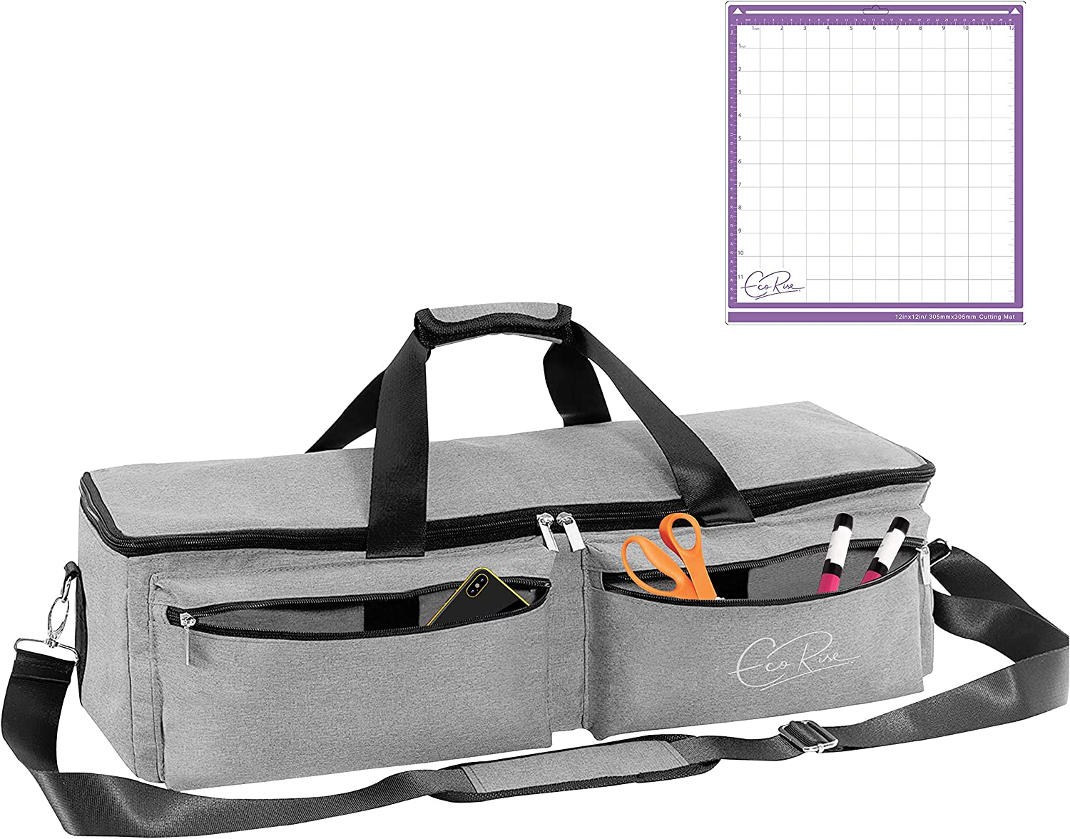 Durable Tote Bag Case Compatible with Cricut Explore Air 2 Bonus EcoRise Cutting Mat Black Silhouette Cameo 3 EcoRise Carrying Bag Compatible with Cricut Explore Air and Cricut Maker