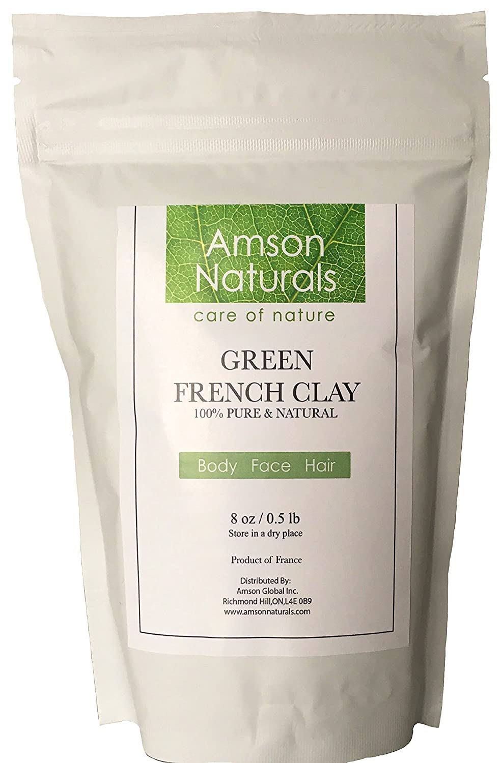 FRENCH CLAY GREEN-100% Pure & Natural-8oz (0.5lb)-by Amson Naturals, Illite Super Fine Powder