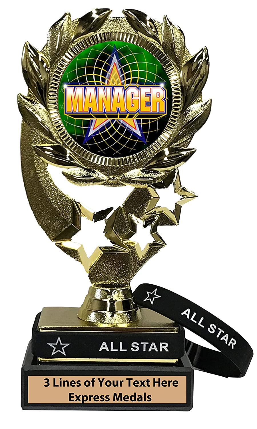 Express Medals Manager Trophy with Removable Wearable All Star Wrist Band Marble Base and Personalized Engraved Plate