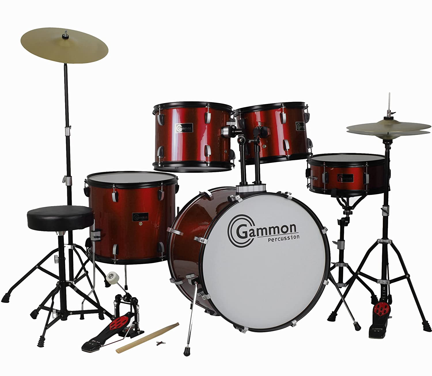 Drum Set Wine Red 5-Piece Complete Full Size with Cymbals Stands Stool Sticks Gammon Percussion J7WINERED
