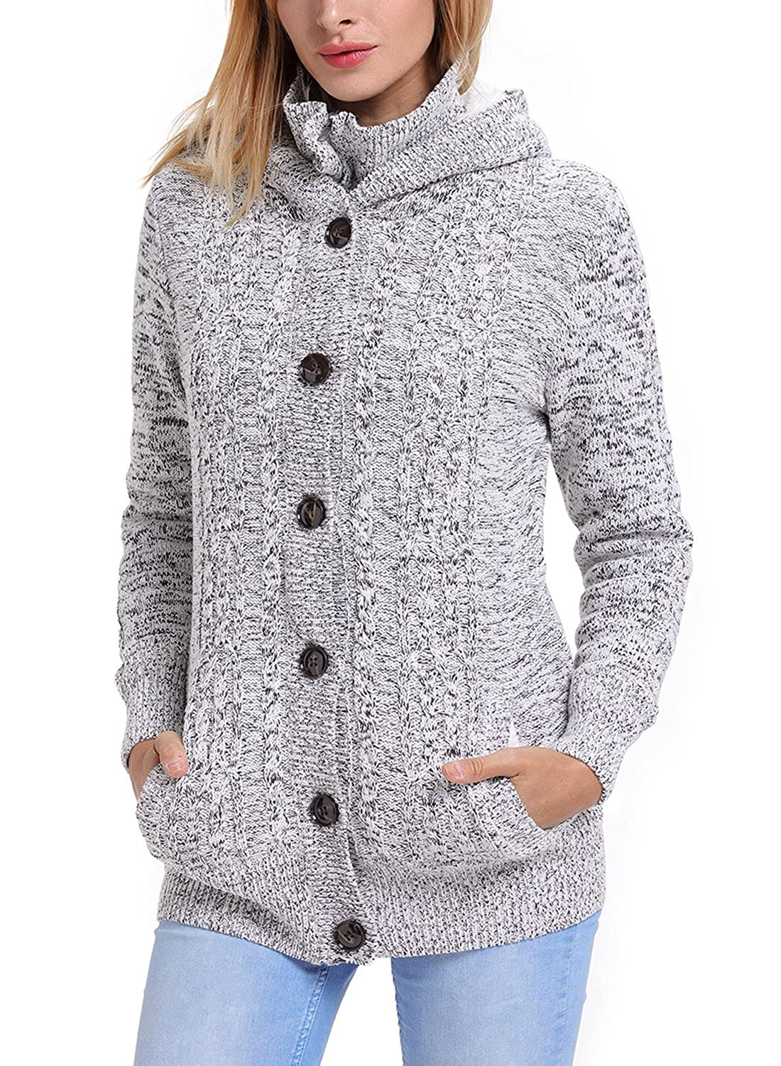 Annflat Women's Hooded Cable Knit Button Down Cardigan Sweaters ...