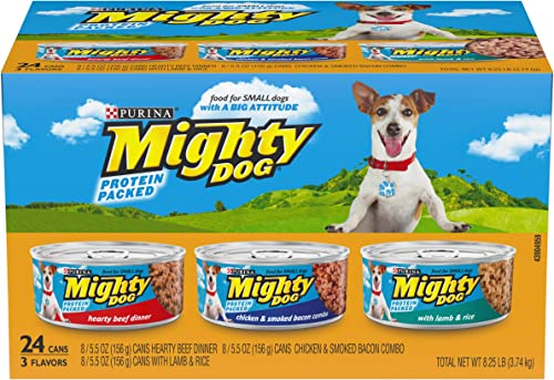 Purina Mighty Dog Ground Wet Dog Food Variety Pack – 24 5.5 oz. Cans