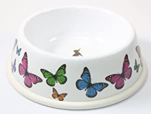 """Sweet Pet Home 6.5"""" Inch Diameter Round Food Water Bowl with Rubber Rim Butterfly Design for Dogs"""