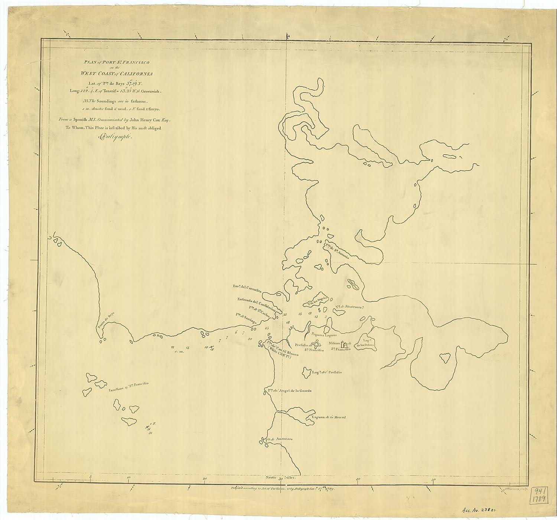 Amazon Com Vintography 18 X 24 Canvas 1789 California Old Nautical