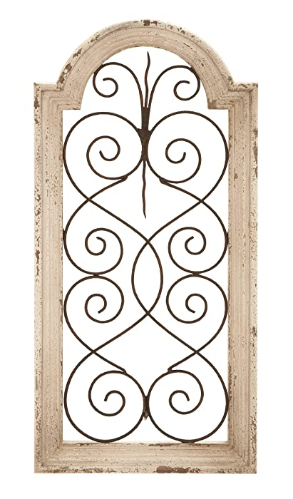 "Deco 79 Rustic Wood and Metal Arched Window Wall Decor 10 by 20"" Textured Ivory White Finish"