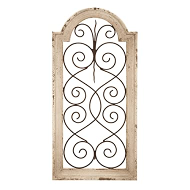 Deco 79 Rustic Wood and Metal Arched Window Wall Decor 10 by 20  Textured Ivory White Finish
