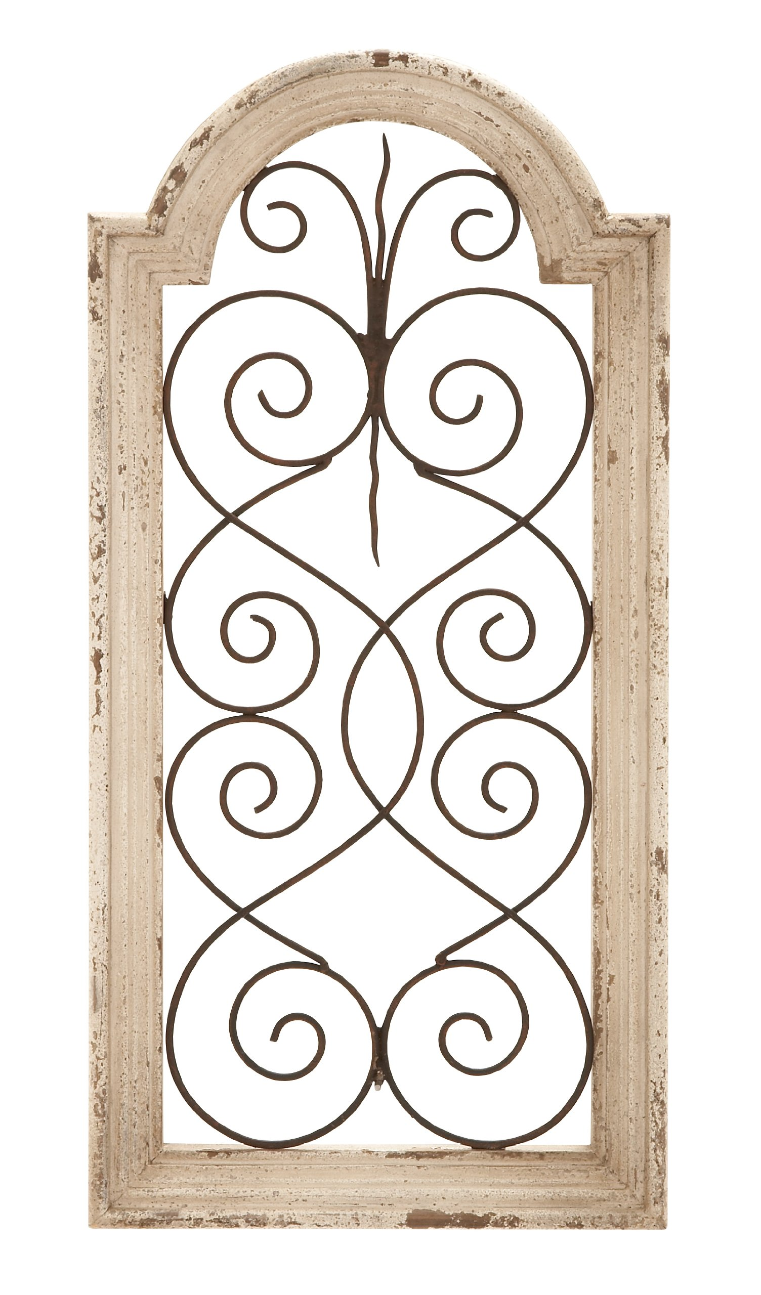 Deco 79 Rustic Wood and Metal Arched Window Wall Decor 10 by 20'' Textured Ivory White Finish