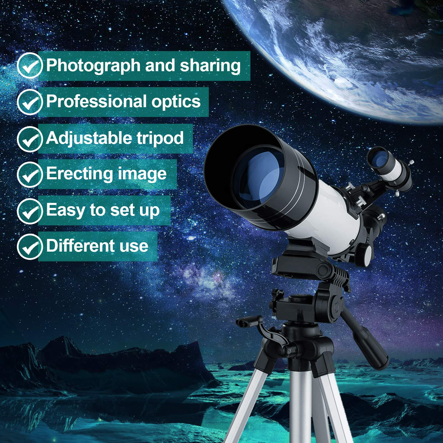 MAXLAPTER Telescope for Kids and Beginners, 70mm Travel Refractor Telescope for Astronomy with Adjustable Tripod, Smartphone Adapter, Camera Shutter Wire Control, Backpack by MAXLAPTER (Image #7)